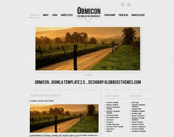 Шаблон OBMICON DARK для Joomla 3.x