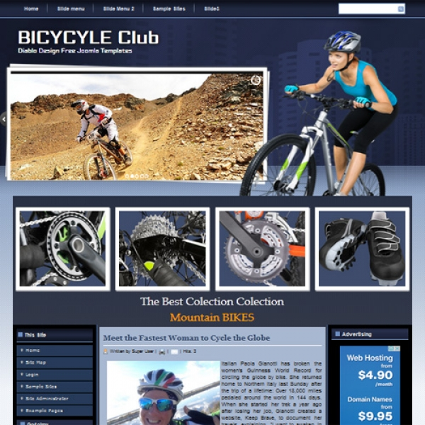 Bicycle Club Joomla шаблон от Diablo Design
