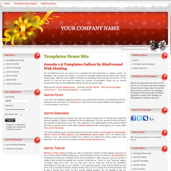 Christmas Time Joomla шаблон от Site Ground