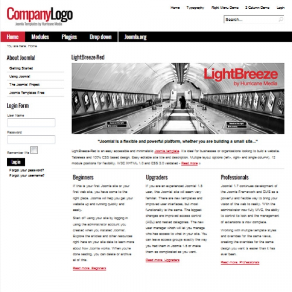 Light Breeze Red Joomla шаблон от Hurricane Media