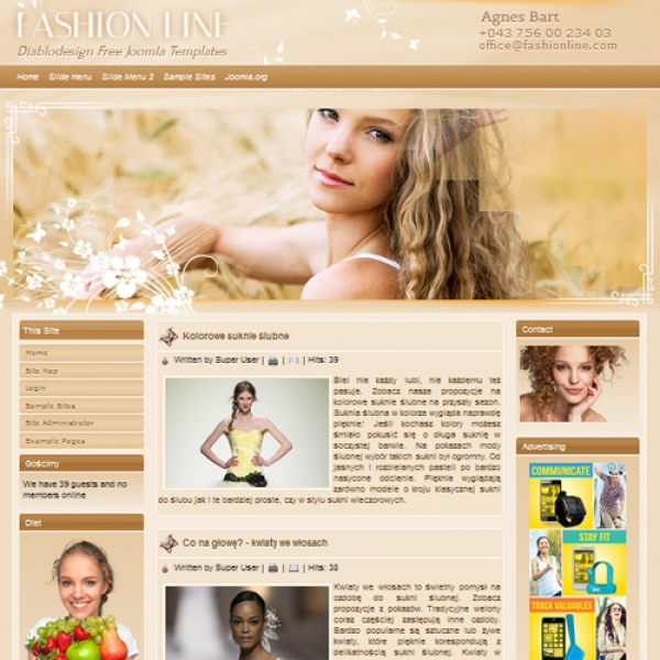 Fashion Line Joomla шаблон от Diablo Design