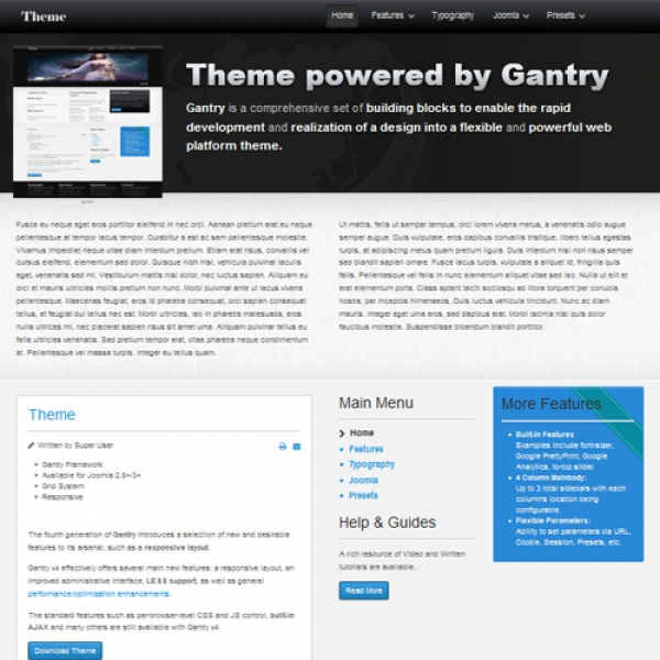 Theme Gantry Joomla шаблон от jvgtheme