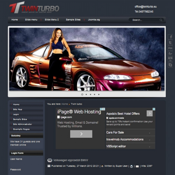 Twin Turbo Joomla шаблон от Diablo Design