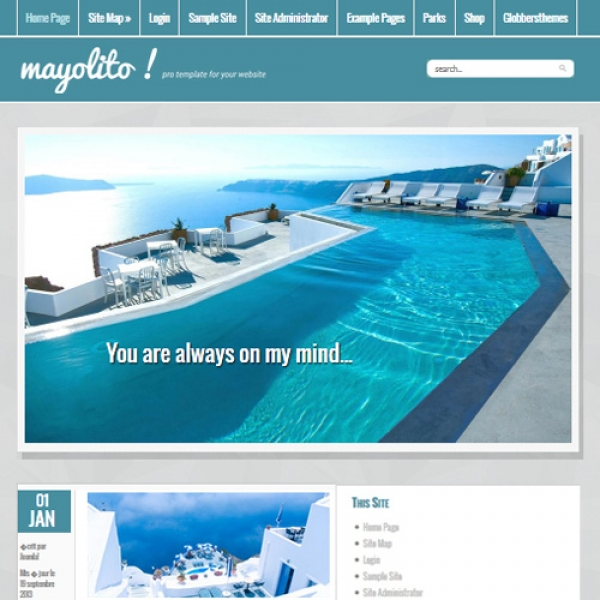 Mayolito Blue Joomla шаблон от Globbers Themes