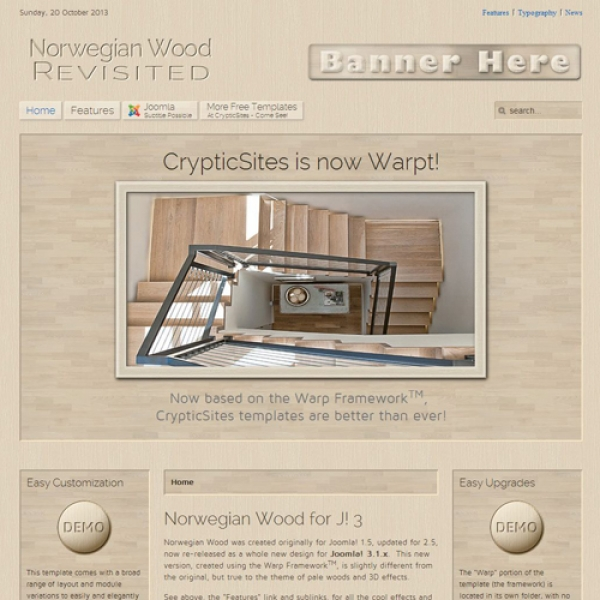 Norwegian Wood Joomla шаблон от CrypticSites