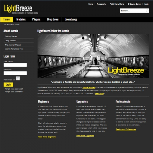 Light Breeze Yellow Joomla шаблон от Hurricane Media