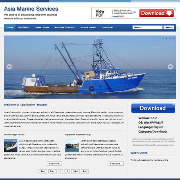 Asia Marine Joomla шаблон от Web Design Builders