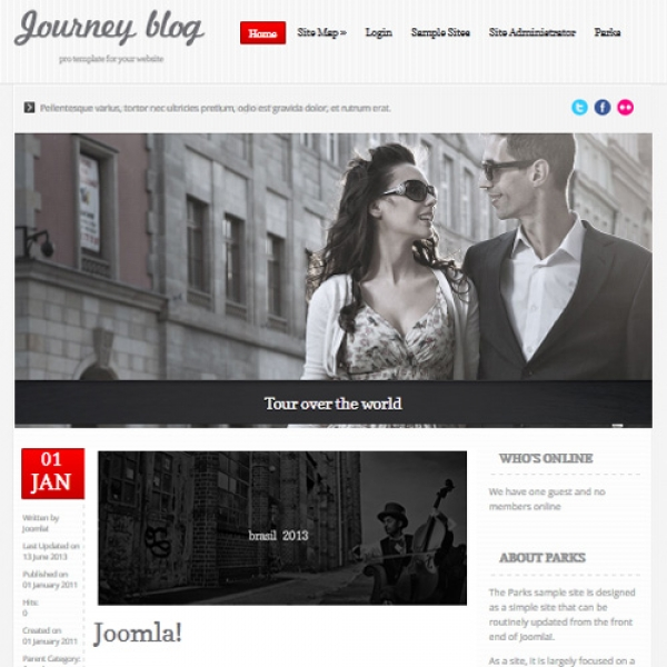 Journey Blog Red Joomla шаблон от Globbers Themes