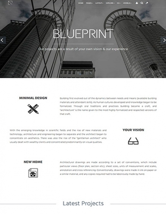Шаблон Minitek Blueprint – для бизнес - идей