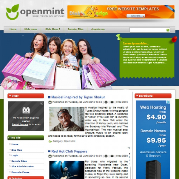 Open Mint Joomla шаблон от Diablo Design