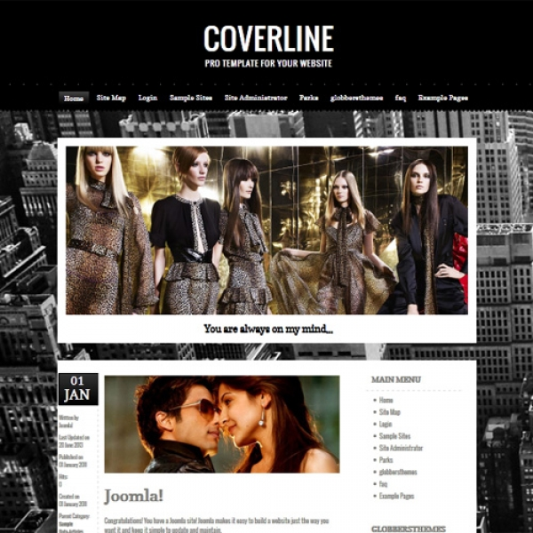 Coverline Black Joomla шаблон от Globbers Themes
