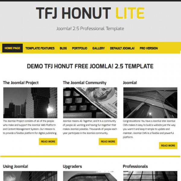 Honut Lite Joomla шаблон от Templates for Joomla