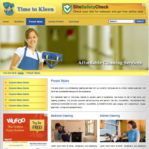 Time To Kleen Joomla шаблон от Web Design Builders